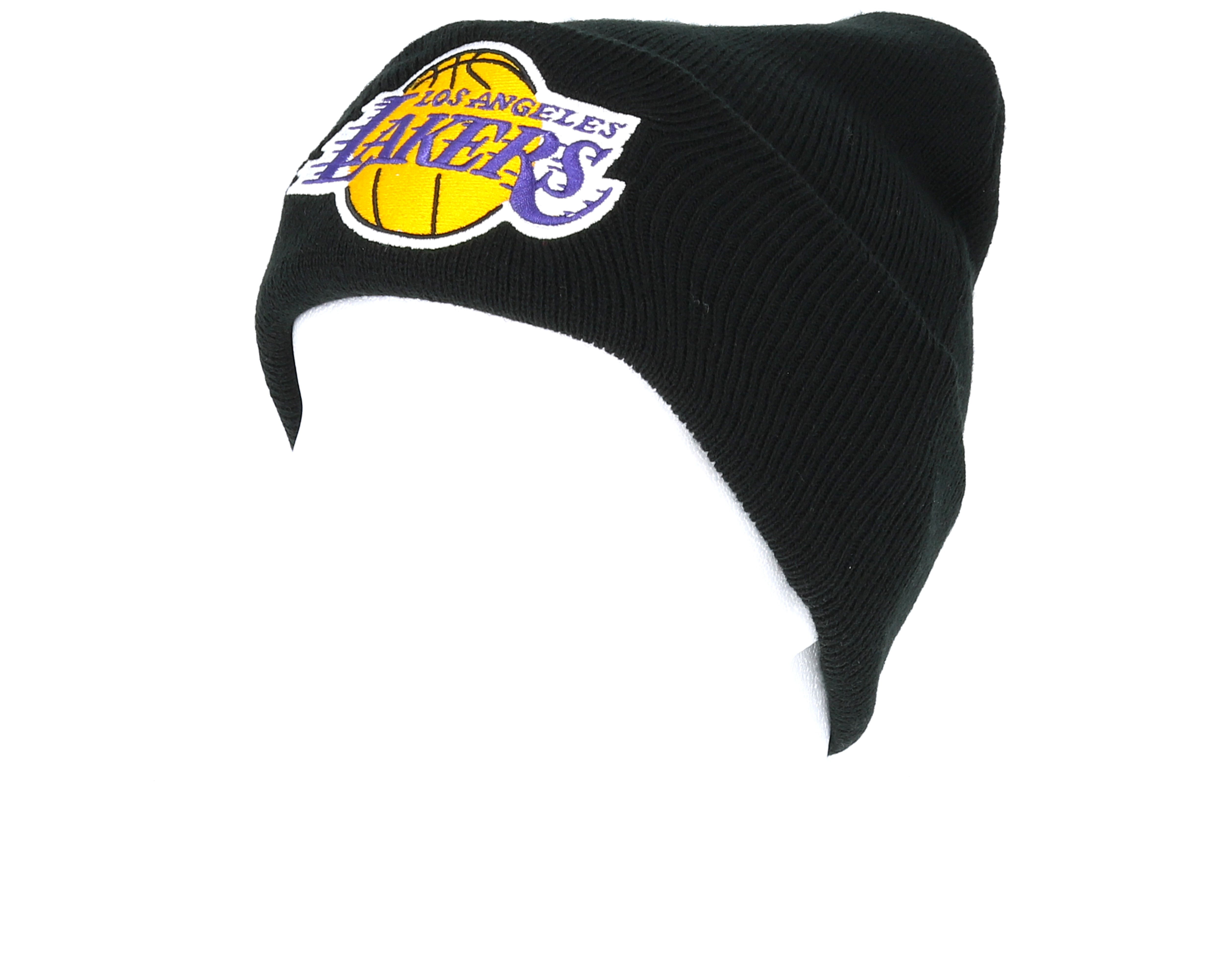 Los angeles lakers team logo knit black cuff mitchell - Black lakers logo ...