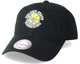 Golden State Warriors Washed Cotton Retro Logo Black Adjustable - Mitchell & Ness