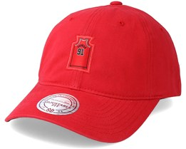 Chicago Bulls Small Jersey Dad Hat Red Adjustable - Mitchell & Ness