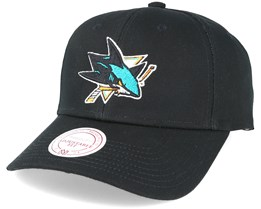 San Jose Sharks Team Logo Low Pro Strapback Black Adjustable - Mitchell & Ness