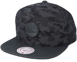 Golden State Warriors Combat Camo Black/Charcoal Snapback - Mitchell & Ness