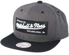 Box Logo Charcoal/Black Snapback - Mitchell & Ness