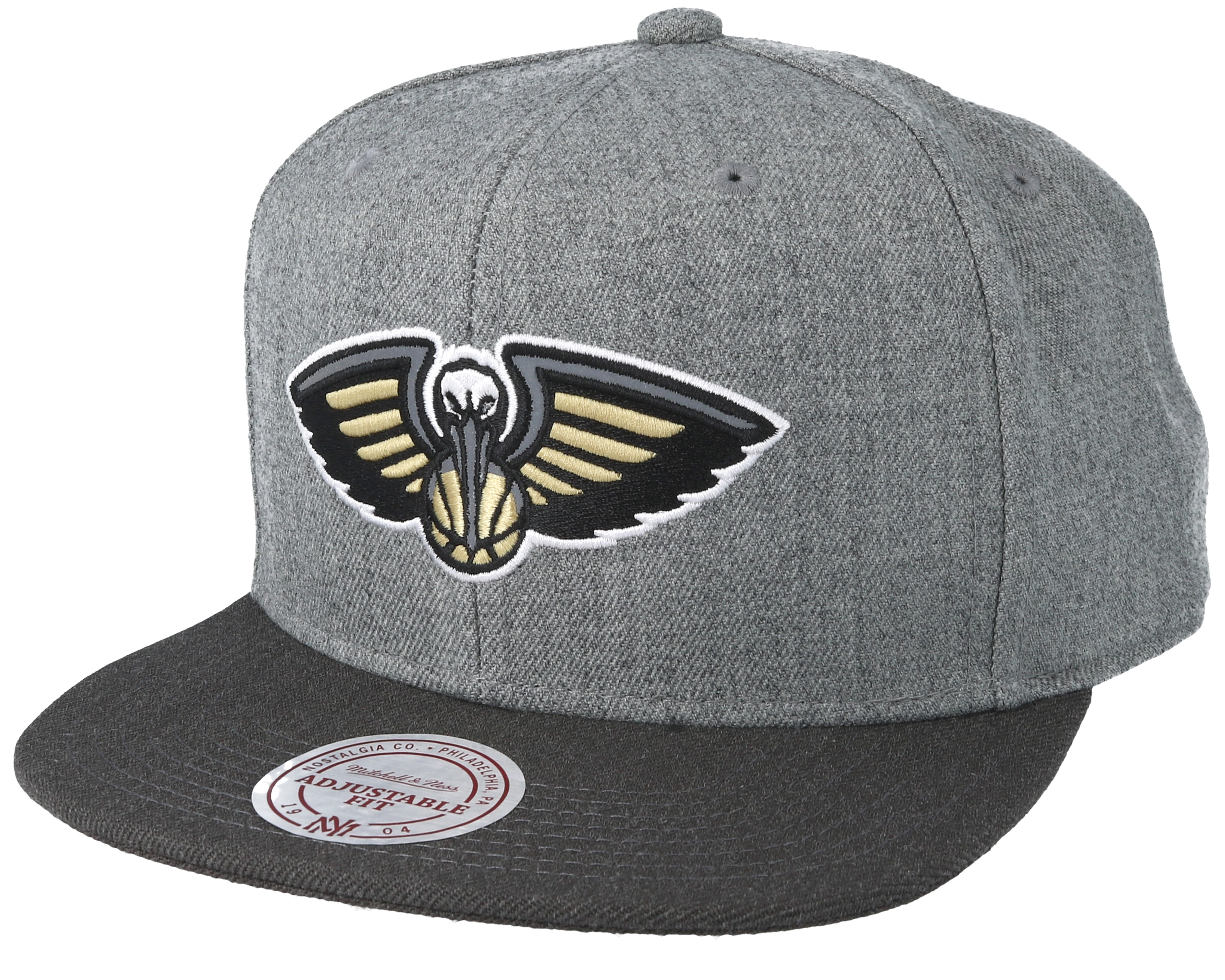 2fb77935b609f7 ... australia new orleans pelicans heather reflective grey snapback  mitchell ness fd3fe 68b60
