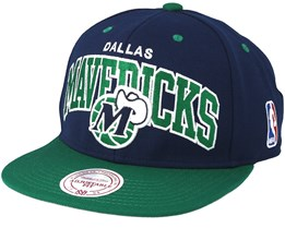 Dallas Mavericks Team Arch Navy/Green Snapback - Mitchell & Ness