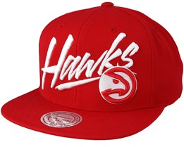 Atlanta Hawks Vice Script Solid Red Snapback - Mitchell & Ness