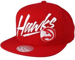 Atlanta Hawks Vice Script Solid Red Snapback - Mitchell & Ness