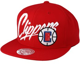 LA Clippers Vice Script Solid Red Snapback - Mitchell & Ness