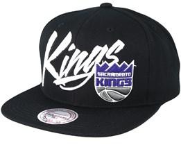 Sacramento Kings Vice Script Solid Black Snapback - Mitchell & Ness