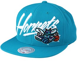 Charlotte Hornets Vice Script Solid Teal Snapback - Mitchell & Ness