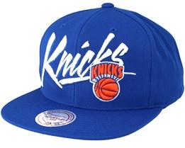 New York Knicks Vice Script Solid Blue Snapback - Mitchell & Ness