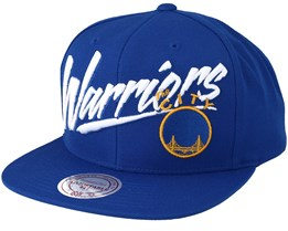 Golden State Warriors Vice Script Solid Blue Snapback - Mitchell & Ness