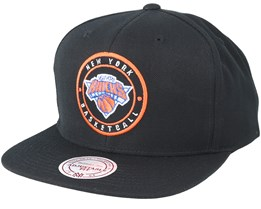 New York Knicks Circle Patch Team Navy Snapback - Mitchell & Ness