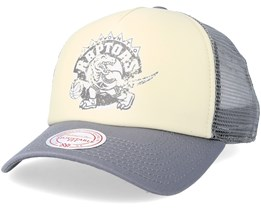 Toronto Raptors The Distressed Print P.P Stone/Charcoal Trucker - Mitchell & Ness