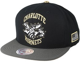 Charlotte Hornets Gold Tip Black Snapback - Mitchell & Ness
