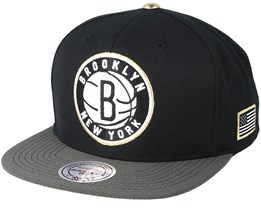 Brookyn Nets Gold Tip Black Snapback - Mitchell & Ness