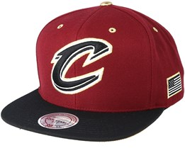 Cleveland Cavaliers Gold Tip Burgundy Snapback - Mitchell & Ness