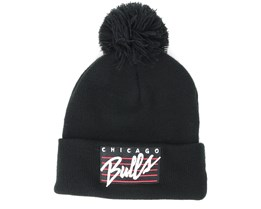 Chicago Bulls Cursive Script Knit Black Pom - Mitchell & Ness