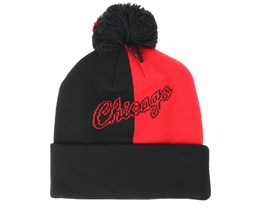 Chicago Bulls Split Logo Knit Red/Black Pom - Mitchell & Ness