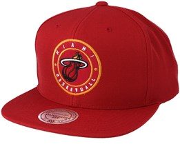 Miami Heat Twill Circle Patch Burgundy Snapback - Mitchell & Ness