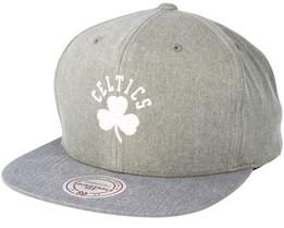 Boston Celtics Washed Twill 2 Tone Olive Snapback - Mitchell & Ness