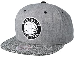Brooklyn Nets Elephant Crack Grey Snapback - Mitchell & Ness