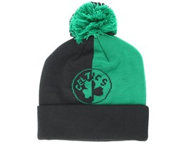 Boston Celtics Split Logo Knit Green/Black Pom - Mitchell & Ness