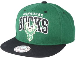 Milwaukee Bucks Team Arch Green Snapback - Mitchell & Ness