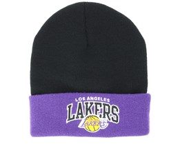 Los Angeles Lakers Team Arch Knit Black Cuff - Mitchell & Ness