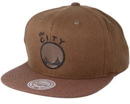 Golden State Warriors Terrain Brown Snapback - Mitchell & Ness