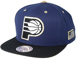 Indiana Pacers Gold Tip Navy Snapback - Mitchell & Ness