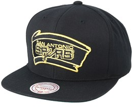 San Antonio Spurs Black & Gold Metallic Black Snapback - Mitchell & Ness