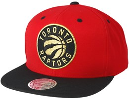 Toronto Raptors Black & Gold Metallic Red Snapback - Mitchell & Ness