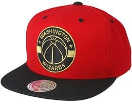 Washington Wizards Black & Gold Metallic Red Snapback - Mitchell & Ness
