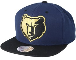 Memphis Grizzlies Black & Gold Metallic Navy Snapback - Mitchell & Ness
