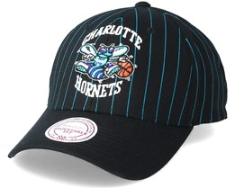 Charlotte Hornets Pinstripe Black Adjustable - Mitchell & Ness