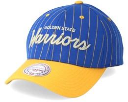 Golden State Warriors Pinstripe Blue Adjustable - Mitchell & Ness