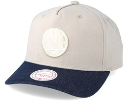Golden State Warriors Denim Visor Beige Low Profile Adjustable -Mitchell & Ness