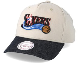 Philadelphia 76ers Denim Visor Beige Adjustable - Mitchell & Ness
