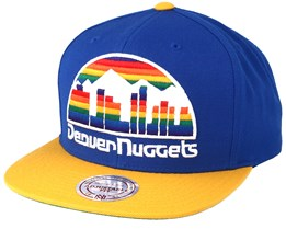 Denver Nuggets XL Logo 2 Tone Yellow/Blue Snapback - Mitchell & Ness