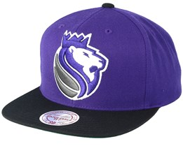 Sacramento Kings XL Logo 2 Tone Black/Purple Snapback - Mitchell & Ness