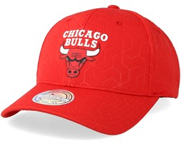 Chicago Bulls Debossed Stretch Current 110 Red Adjustable - Mitchell & Ness