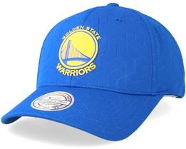 Golden State Warriors Debossed Stretch Current 110 Blue Adjustable - Mitchell & Ness