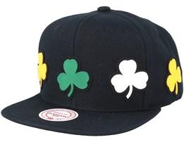 Boston Celtics Multi Logo Black Snapback - Mitchell & Ness
