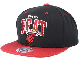 Miami Heat Team Arch Black/Burgandy Snapback - Mitchell & Ness