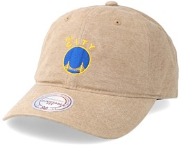 Golden State Warriors Workmens Strapback Tan Adjustable - Mitchell & Ness