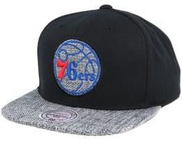 Philadelphia 76ers Woven Tc Black Snapback - Mitchell & Ness