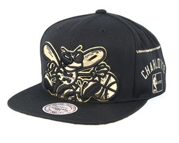 Charlotte Hornets Patent Cropped Black Snapback - Mitchell & Nesss
