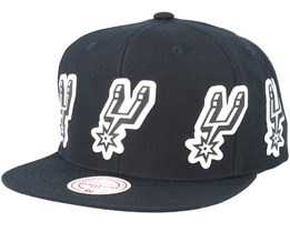 San Antonio Spurs Multi Logo Black Snapback - Mitchell & Ness