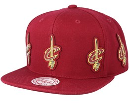 Cleveland Cavaliers Multi Logo Cardinal Snapback - Mitchell & Ness
