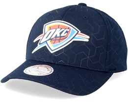 Oklahoma City Thunder Debossed Stretch Current 110 Navy Adjustable - Mitchell & Ness